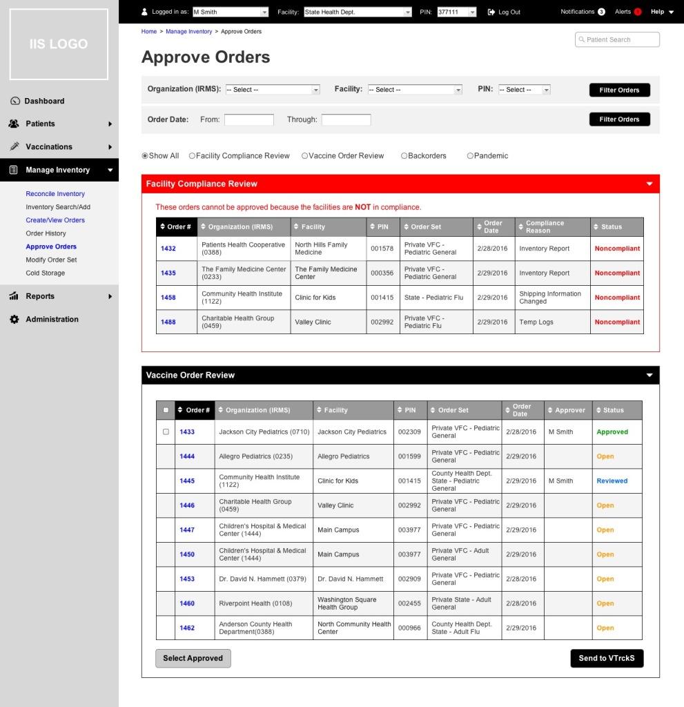 VOMS prototype Approve Orders screen